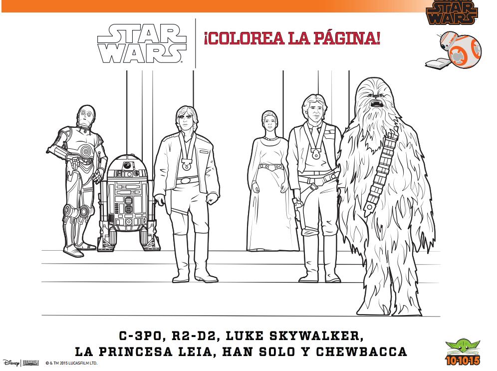 Día de Lectura Star Wars actividades, colorea , pinta, marionetas