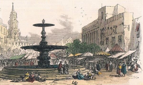 Font Plaça del Mercat (detall). 1866. Gravat.