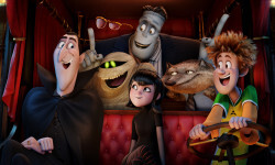 Dracula (Adam Sandler), Griffin the Invisible Man (David Spade), Murray the Mummy, Frank (Kevin James), Mavis (Selena Gomez), Wayne (Steve Buscemi) and Johnny (Andy Samberg) in Columbia Pictures' HOTEL TRANSYLVANIA 2.