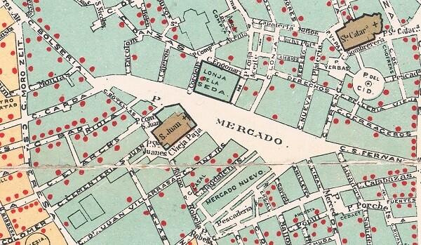 Plànol del Còlera. Mortaldat al Districte del Mercat. (1885).
