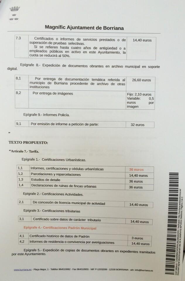 Propuesta incremento tasas por expedición de documentos