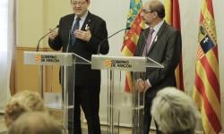 Puig y Lambán piden cambiar el planteamiento centralista de las infraestructuras y que se potencie el eje Aragón-Puerto de Valencia