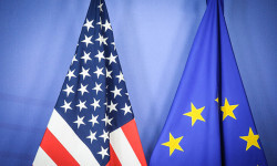 Jan. 26, 2015 - Brussels, Bxl, Belgium - US and EU flags seen during Treasury Secretary Jack Lew a press conference after a meeting at EU Commission headquarters in Brussels, Belgium on 26.01.2015 Lew said the US economy still needs pushing to continue growth, and that US alone could not lead global economic recovery. Reports also state Lew said Greece is moving on to solve their problems after having to make tough decisions. In the meantime, European financial markets on Monday shrugged off the news that the anti-austerity SYRIZA party had emerged as the victor in Greece's national election, with both shares and the euro gaining ground. by Wiktor Dabkowski.