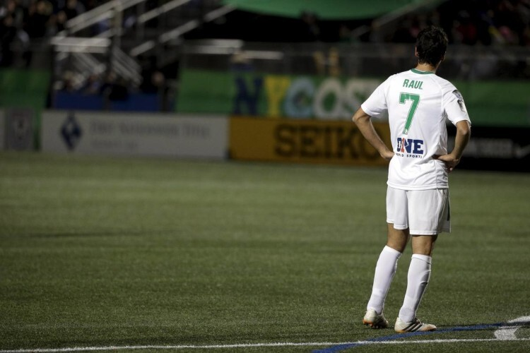 New York Cosmos player Raul stands on the field during his team' class=