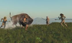 Digital illustration of a group of neandertals hunting a bison