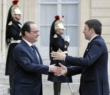 El Primer ministro italiano recibe al presidente francés.