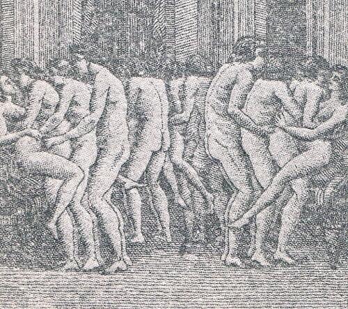 Escena erótica. Grabado francés. Siglo XVIII.