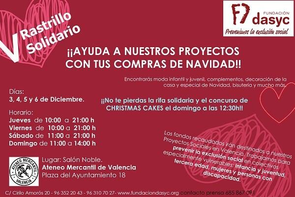 La fundación DASYC celebra su V Rastrillo Solidario.