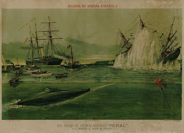 Poster-conmemorativo-del-lanzamiento-torpedos-del-submarino-Peral.-Coleccion-Privada-Diego-Quevedo_imagelarge