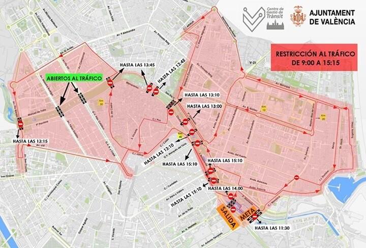 Ya se conoce el corte de calles para el Maratón Valencia 2015.