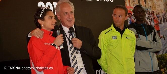 la atleta valenciana Marta Esteban y Francisco Borao durante la presentación del evento.