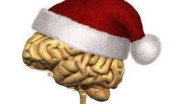 Smart Christmas - a human brain wearing a Santa Claus hat - 3D render with digital painting.