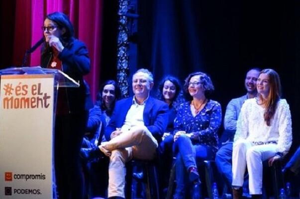 La coalición Compromís-Podemos-És El Moment llena el Teatro Olympia en su acto central.