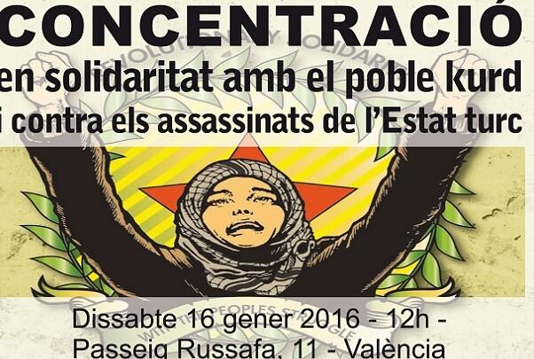 Concentració a València en solidaritat amb el poble kurd i els moviments socials turcs.