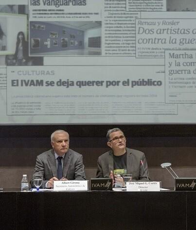 El secretario autonómico de Cultura, Albert Girona, junto al director del Institut Valencià d' class=
