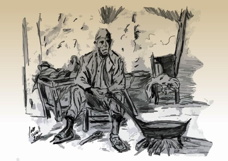 Historia de la paella Valenciana. Dibujo realizado por Jose Cuñat.