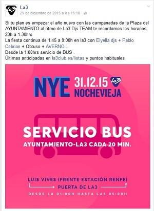 Pantallazo del servicio de autobuses ofrecido por La3