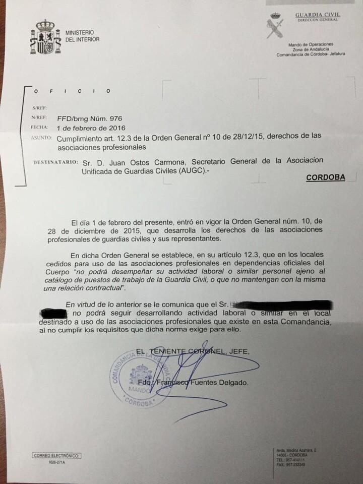 Carta a AUGC de Córdoba
