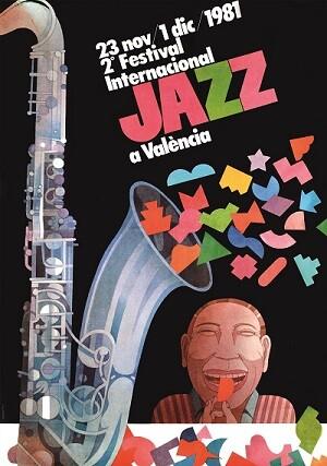 Cartel de Miguel Calatayud. II Festival Internacional de Jazz de Valencia. Teatro Principal, 1981.