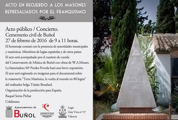 El cementerio civil de Buñol alberga un acto este sábado en recuerdo de los masones represaliados por el franquismo.