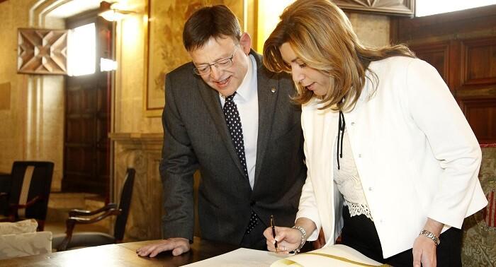 El president Ximo Puig y la presidenta Susana Díaz asistieron a la celebración del Día de Andalucía en la Comunitat.