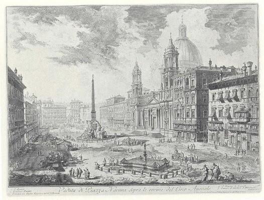 Plaza Navona. Vedute di Roma (1748-1778). Aguafuerte. Nº inv. 19920. Obra de Piranesi.