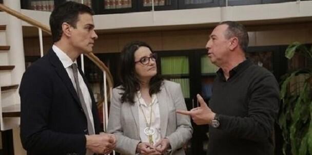 Sánchez, Oltra y Baldoví.