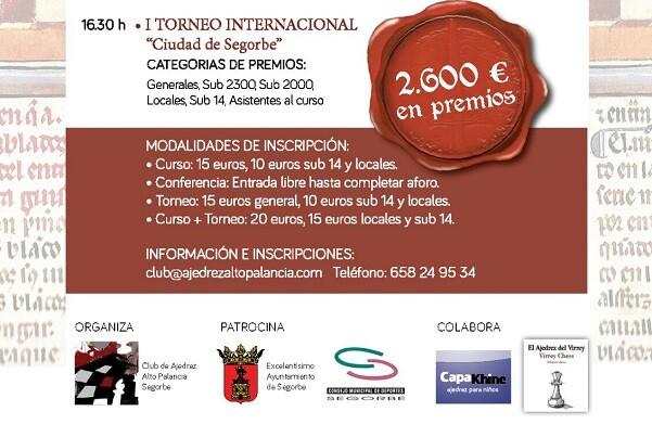 Segorbe organiza las I Jornadas Internacionales de Ajedrez 'Francesch Vicent'.