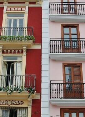 Edificios del centro histórico de Valencia.