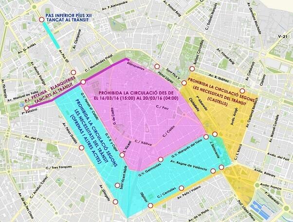 El centro de Valencia quedará cerrado al tráfico de vehículos particulares desde el 16 de marzo.