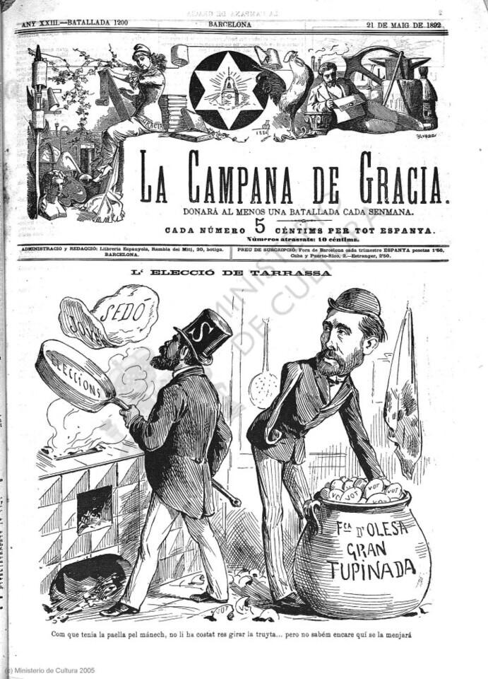 La Campana de Gracia - Any XXIII Batallada 1200 (21 05 1892) (Imagen) (1)