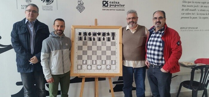 Luis Barona (Vicepresidente de la FACV), Juan Catalán (C.E. Samarucs), Basilio López (Club Organizador) y Francisco Cuevas.