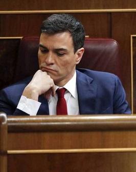 Pedro Sánchez durante la votación de su investidura.