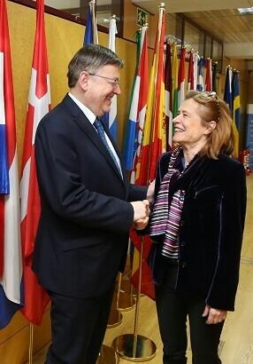 Puig mantuvo una reunión con la directora de Representación de la Comisión Europea en España, Aránzazu Beristain.
