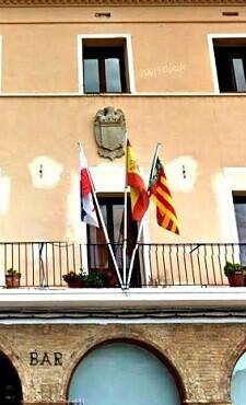 Símbol franquista en un edifici.