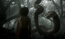 "Mowgli (newcomer Neel Sethi) meets Kaa (voice of Scarlett Johansson) in ""The Jungle Book,"" an all-new live-action epic adventure about Mowgli, a man-cub raised in the jungle by a family of wolves, who embarks on a captivating journey of self-discovery when he's forced to abandon the only home he's ever known. In theaters April 15, 2016. 