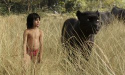 "Mowgli (newcomer Neel Sethi) and Bagheera (voice of Ben Kingsley) embark on a captivating journey in ""The Jungle Book,"" an all-new live-action epic adventure about Mowgli, a man-cub raised in the jungle by a family of wolves, who is forced to abandon the only home he's ever known. In theaters April 15, 2016. 