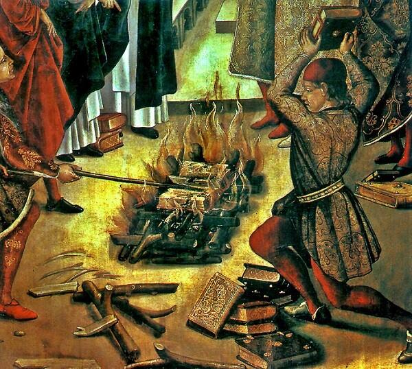 Detalle de la quema de libros. Pintura sobre tabla obra de Berruguete, s. XV - copia