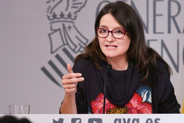 Rueda de prensa de la Vicepresidenta del Consell, Monica Oltra, posterior al pleno del Consell. 29/04/2016. Foto: J.A.Calahorro.