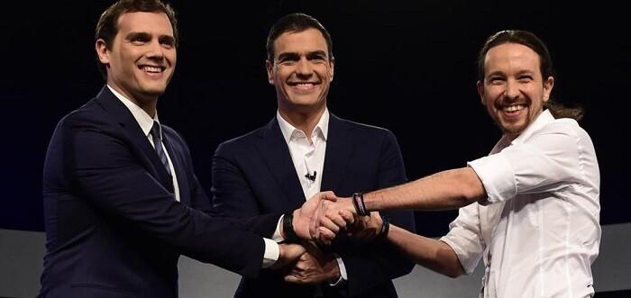 Imagen de archivo de un debate televisivo entre las tres formaciones.