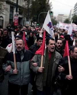 Imagen de archivo de una huelga en Grecia.