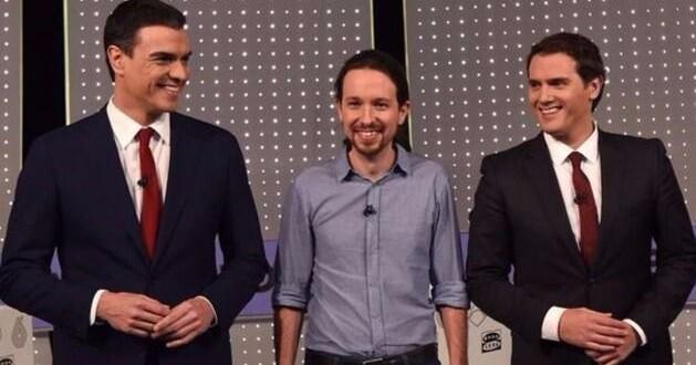 Imagen del primer debate televisivo que reunió a las tres formaciones.