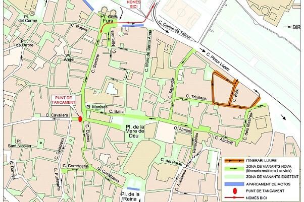 La calle Salvador y el eje de Almodí hasta la calle Mestres también serán peatonales.