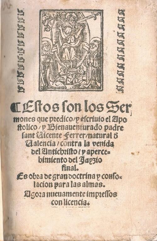 Portada Sermones de Sant Vicent. 1569.