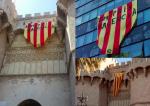 Primero la estelada y ayer el Penó de la Conquesta con el lema 'Som País Valencià'