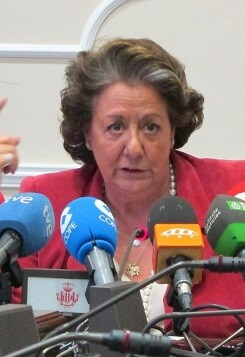 Rita Barberá durante un rueda de prensa.