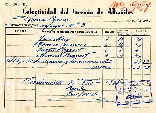 Uno de los documentos pertenecientes a la CNT.