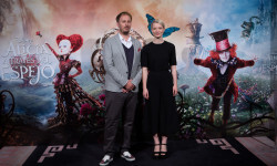 MADRID, SPAIN - MAY 12:  (L-R) Director James Bobin and actres Mia Wasikowska attend the 'Alice Through The Looking Glass' photocall at the Santo Mauro Hotel on May 12, 2016 in Madrid, Spain.  (Photo by Pablo Cuadra/Getty Images for Walt Disney Studios)