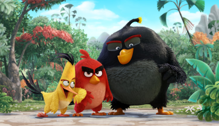 Chuck (Josh Gad), Red (Jason Sudeikis), Bomb (Danny McBride) in Columbia Pictures and Rovio' class=