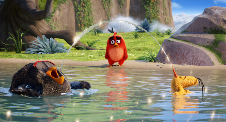 Bomb (Danny McBride), Red (Jason Sudeikis), Chuck (Josh Gad) in Columbia Pictures and Rovio Animation' class=